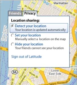 Opção de compartilhar ou não sua localização
